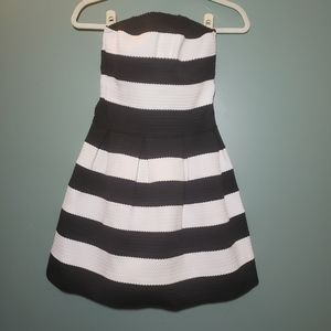 B Darlin Black White Striped Strapless Mini Dress